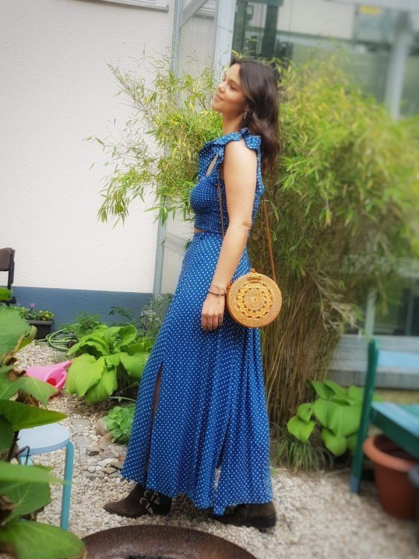 Polka Dot Maxikleid 2 Teilig Blau Polka Dot Zweiteiler Kleid Boho Sommer Maxi Kleid Gepunktet Bohemian Mode Boho Rocke Kleid Punkte