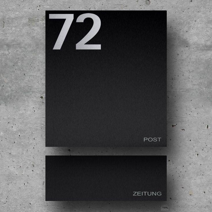 Edelstahl Designer Briefkasten Modell 89 mit Hausnummer  - Schwarz - mit Zeitungsfach zur Wandmontage