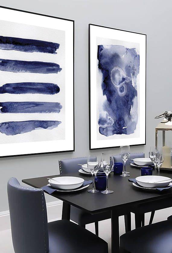 Navy Blue Wall Art Set Set Of 2 Blue Abstract Set Of 2 Etsy Navy Blue Wall Art Blue Wall Art Blue Abstract Wall Art