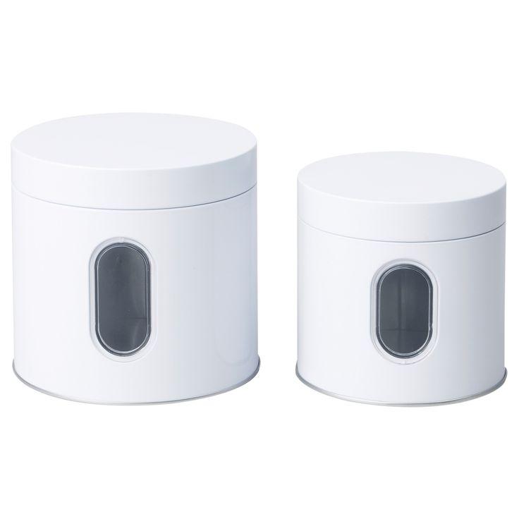 INRE Storage tin with lid, set of 2 - 24/41 oz - IKEA
