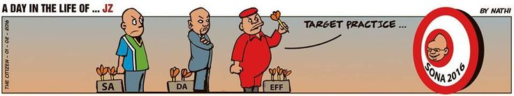 The opposition takes aim in Nathi's pre-SONA cartoon for The Citizen News