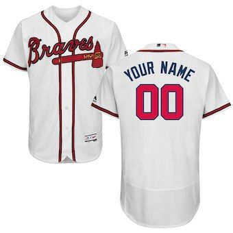 f9c75207 Atlanta Braves Majestic Home Flex Base Authentic Collection Custom Jersey -  White