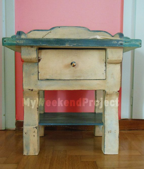 Vintage night table / cream & light blue / Shabby Chic by Vintales