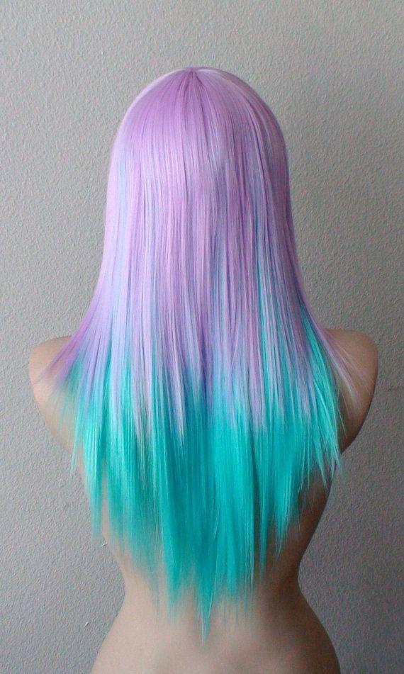 Pastel+Lavender+blue+color+wig.+Straight+hair+long+by+kekeshop