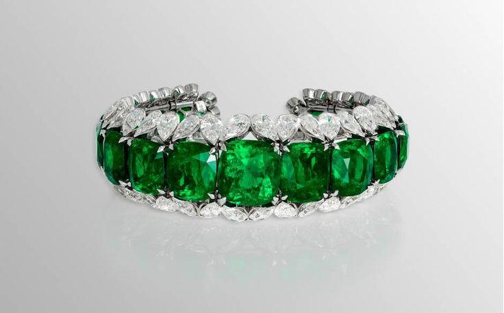 Inside David Morris's workshop - Telegraph Colombian cushion-cut emerald bracelet with pear shape diamond surrounds
