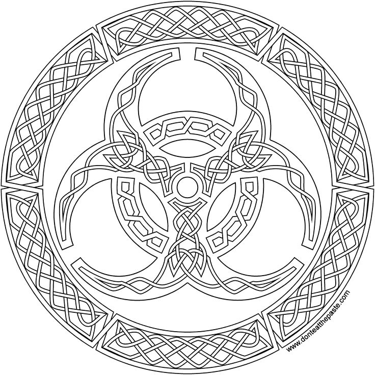 Coloring Page Celtic F C: A Biohazard Symbol In Knotwork To Print And Color In Jpg