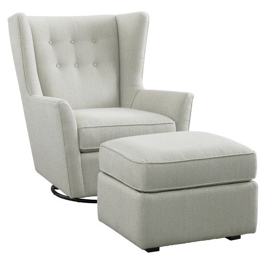 Cute glider with ottoman for gender neutral or baby boy nursery. Looks cozy yet structured.