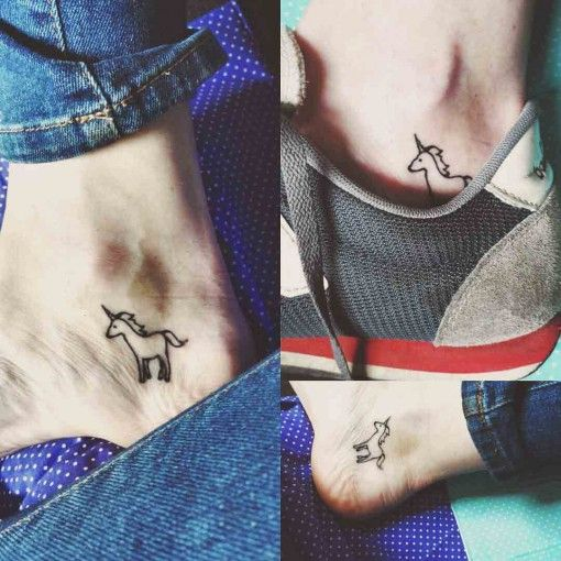 Ankle Tattoo Unicorn kiut