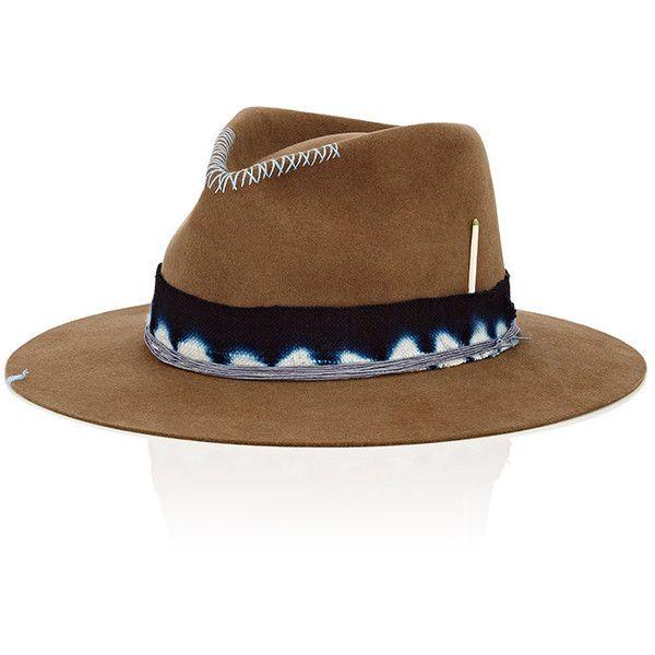 Nick Fouquet Men's The Guerra Fur Felt Fedora ($1,100) ❤ liked on Polyvore featuring men's fashion, men's accessories, men's hats, mens wide brim fedora, men's brimmed hats, mens fedora, mens wool felt fedora hats and mens felt hat