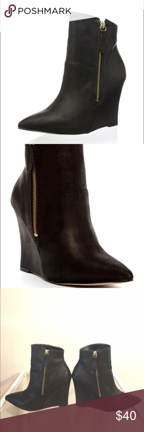 """Steven by Steve Madden Wedge Ankle Boot - Pointed toe - Pull-on with side zip opening extension - Wedge heel - Approx. 6"""" shaft height, 10.5"""" opening circumference - Approx. 4"""" heel  Boots have some wear, as seen in the images. But definitely still present well, no serious tears or marks. 4"""" high but the Wedge makes them easy to walk in.   Fit true to size. Pet free, smoke free household. No odors. These zip booties look great with jeans or skirts! Steven By Steve Madden Shoes Ankle Boots…"""