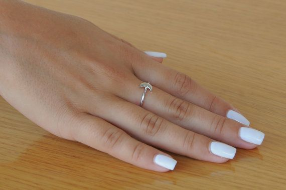 Tiny moon 925 sterling silver ring by Wavejewels on Etsy