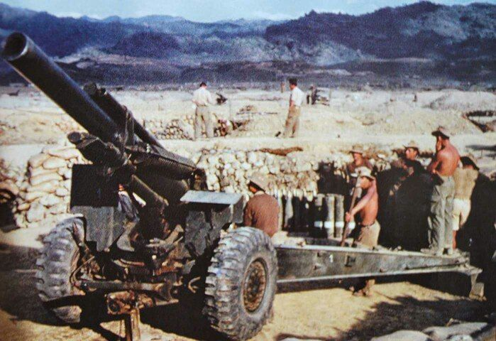 French 155-mm howitzers, Battle of Dien bien Phu, March-may 1954 - pin by Paolo Marzioli