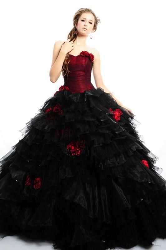 2016 Gothic Red And Black A Line Floor Length Tulle Halloween Party Wedding Dresses Custom Made Ball Gowns Handmade Flowers Bridal Gowns Lace Wedding Dresses Cheap Latest Bridal Gowns From Sweetlife1, $153.17| Dhgate.Com