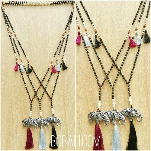 three color tassels elephant bronze caps bead necklace - three color tassels elephant bronze caps bead necklace