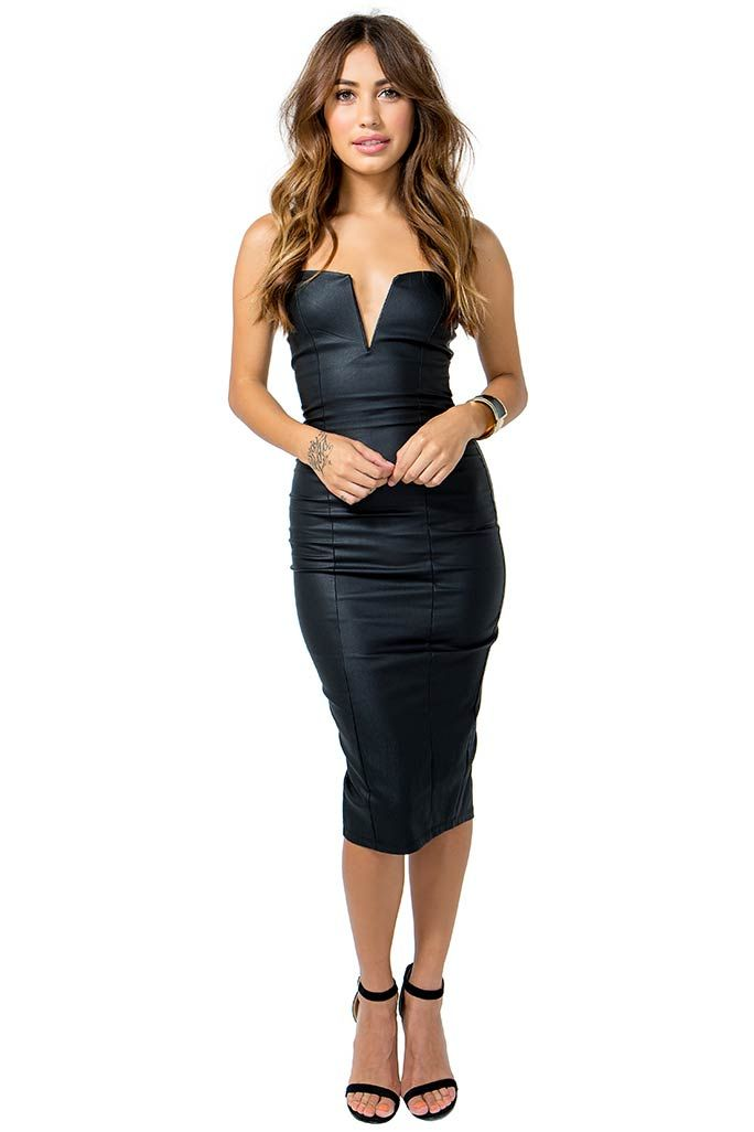 Look flawless in this incredibly sexy bustier dress! Coated finish. Strapless. Deep cut front with a hidden v-bar. Concealed zip closure and vent in the back. Finished mid-length hem. Bodycon fit. $29.50