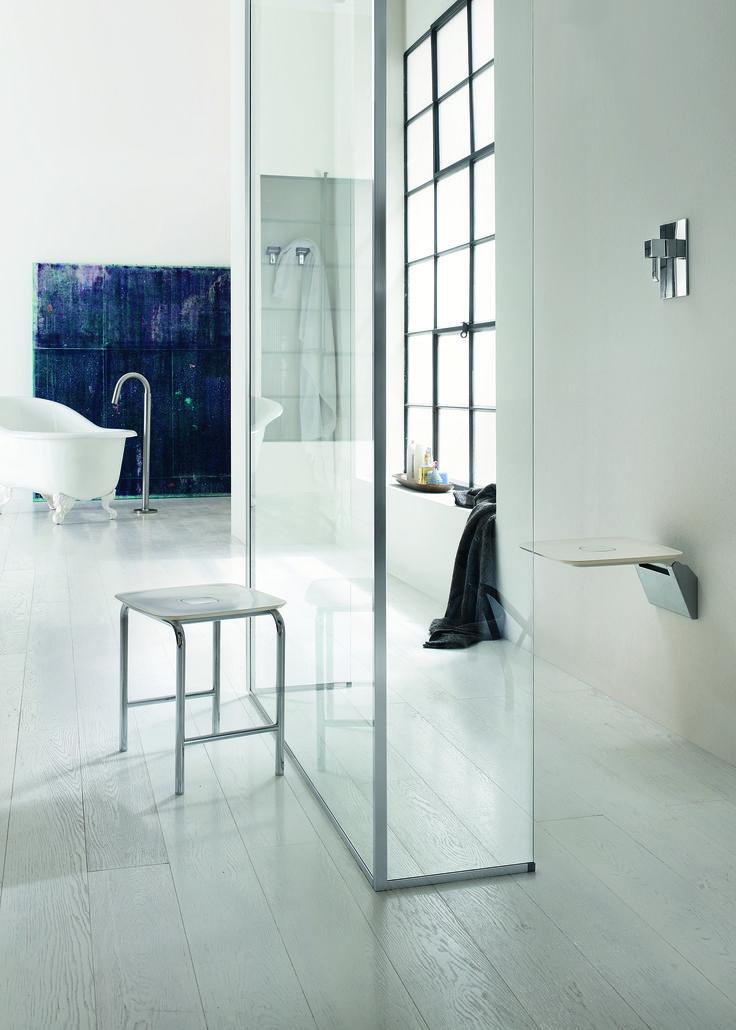 Folding shower seat available in White and Black AV036B