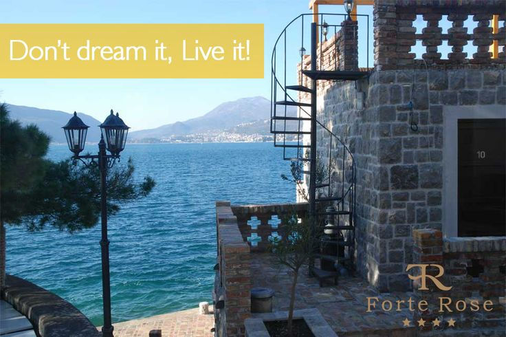 Explore fortress and enjoy in romantic balconies with a #breathtaking view to Boka Bay www.forterose.me Istražite tvrđavu i uživajte u njenim romantičnim terasama sa pogledom na Boku. www.forterose.me #lusticabay #lustica #kotorbay #kotor #hercegnovi #tivat #portomontenegro #mamula #montenegro  #beach #sea #mediterranean #adriatic #hotel #resort #rooms #ForteRose #summer #Черногория