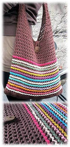 This multicolored slouchy sack is the perfect bag for walking, biking and shopping.