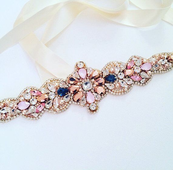 RESERVED For Katie  Rose Gold and Blue  Crystal by KNRHANDMADE