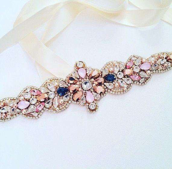 Swarovski Crystal Rose Gold and Blue Crystal Bridal Belt - One of a Kind Hand Stitched