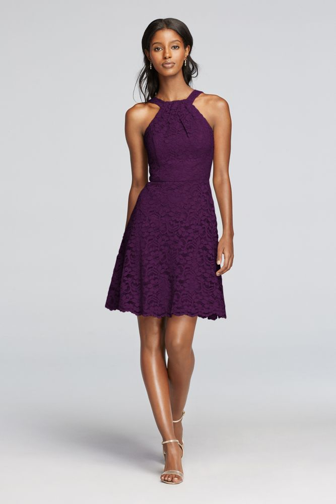 Short All Over Lace Dress with Y Neck - Plum (Purple), 10