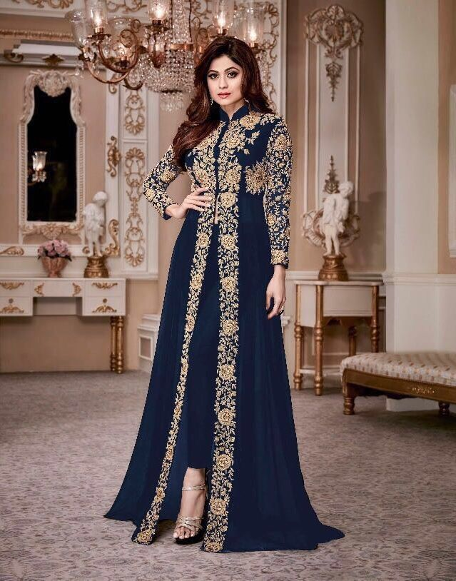 Buy Shamita Shetty Blue Color Party Wear Anarkali Kameez In Uk Usa And Canada Clothes For Women Indian Dresses Pakistani Dresses