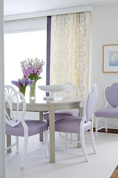 Purple hued dinette.: Dining Rooms, Decor, Interior, Idea, Lavender Dining, Color, Purple Chair, Diningroom, Samantha Pynn