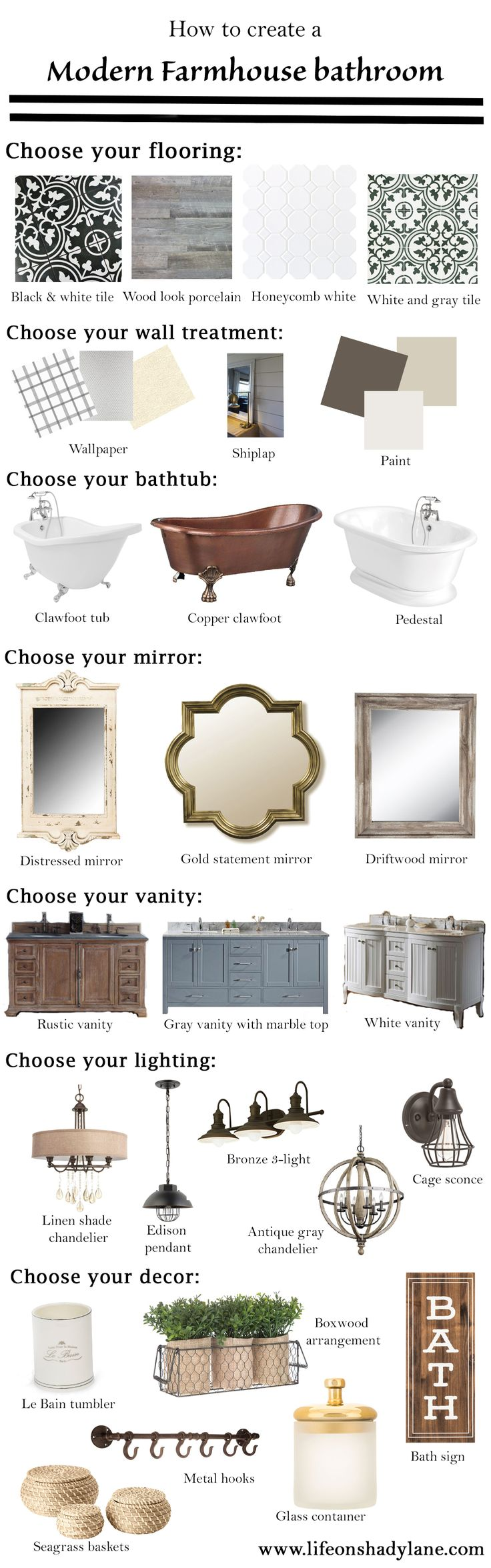 How to create a Modern Farmhouse Bathroom via Life on Shady Lane blog