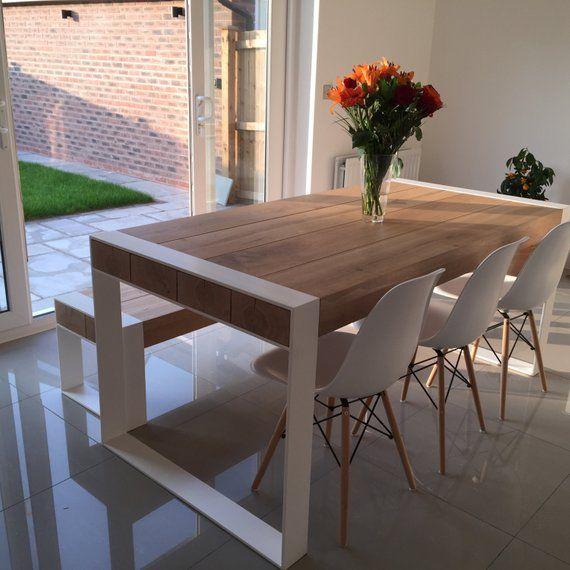 Set da pranzo fatto a mano tavolo in acciaio & legno con