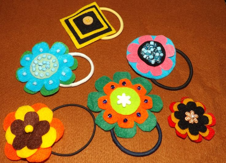 Felt and Beaded hair bobbles