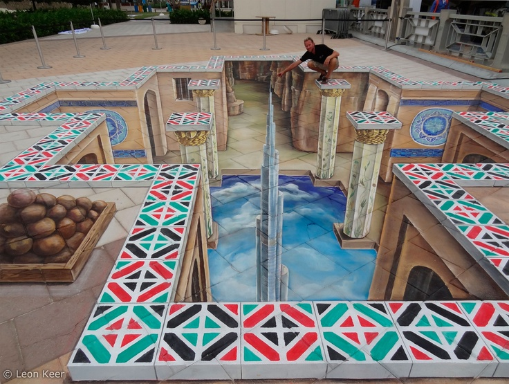 3D street painting, created to honor the 40th anniversary of the UAE, National Day 2011. Design by Leon Keer©, created by Leon Keer and Peter Westerink