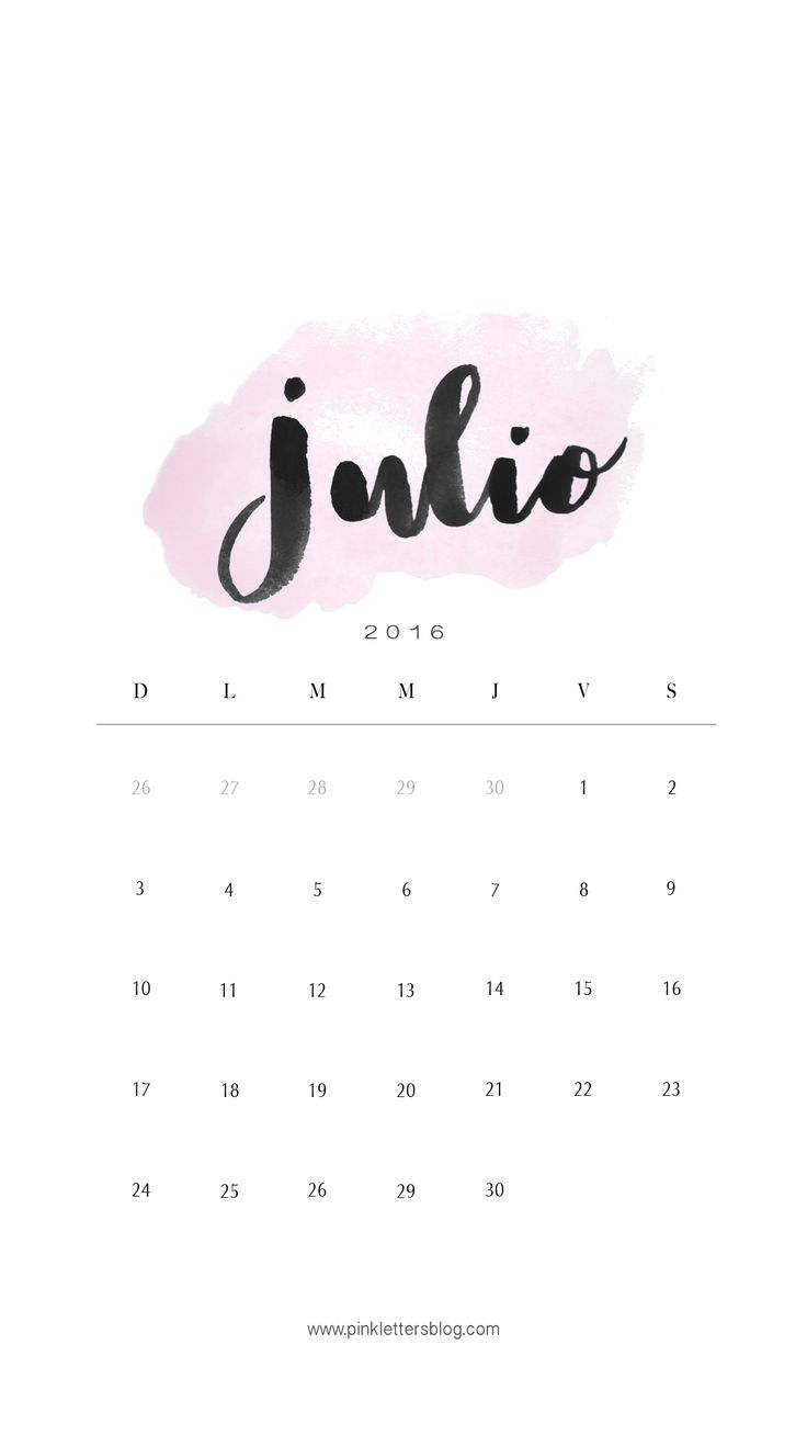 Lockscreen Calendario Julio 2016                                                                                                                                                     Más