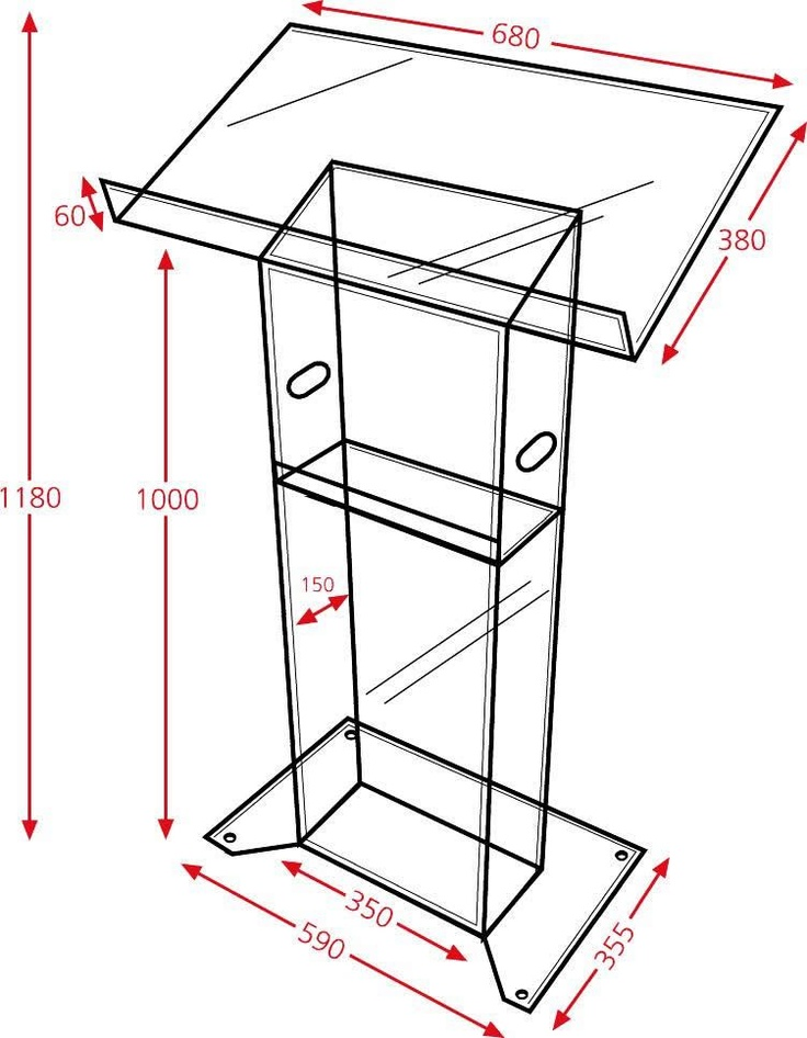 Plan of a perspex trim lectern