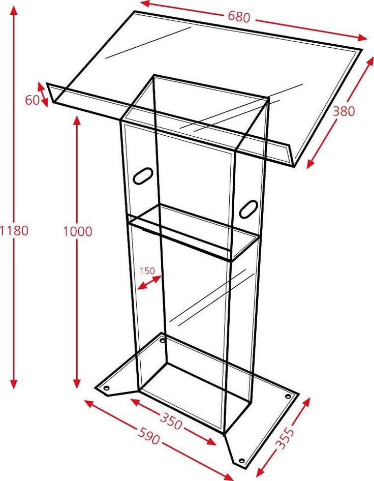 Plan of a perspex trim lectern