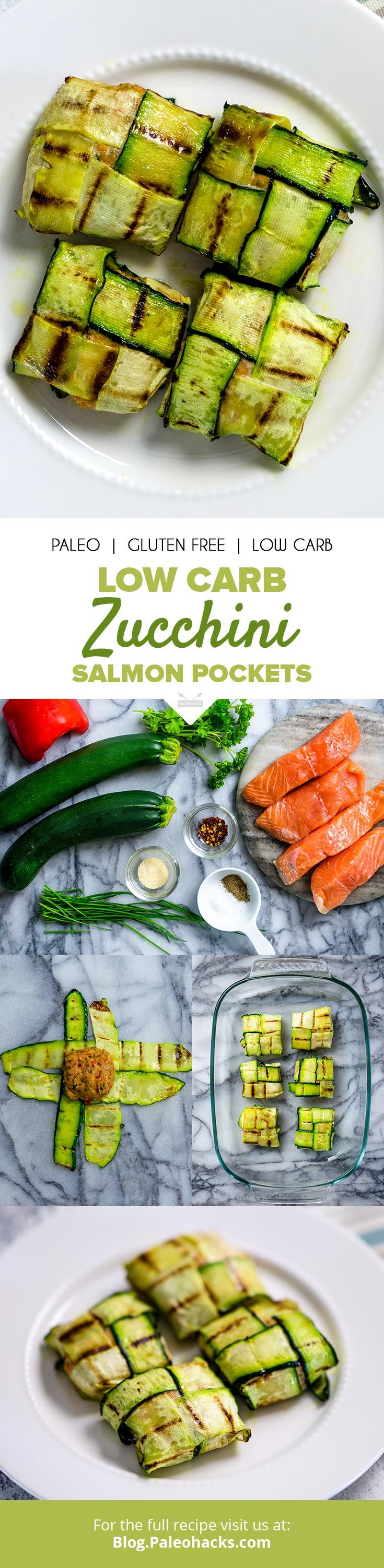 Impress your guests with these easy, elegant herb-filled salmon pockets served in a grilled zucchini weave. Get the full recipe here: http://paleo.co/zucchinisalmonpockets