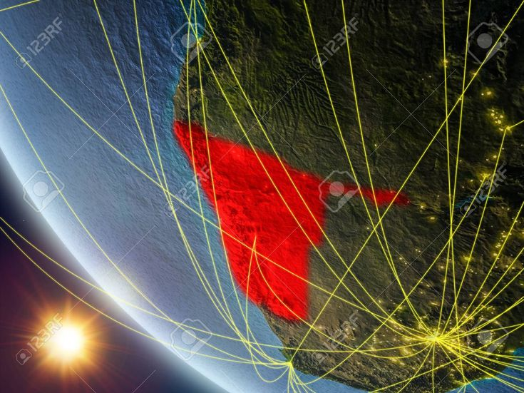 Namibia on planet Earth from space with network. Concept of international communication, technology and travel. 3D illustration. Stock Photo , #Ad, #s…