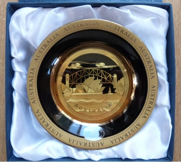 Australian Souvenir Plate Sydney Opera House 24 K Gold Plated With Box EUC   eBay