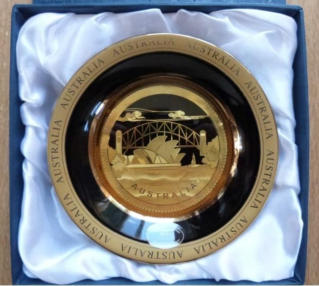 Australian Souvenir Plate Sydney Opera House 24 K Gold Plated With Box EUC | eBay