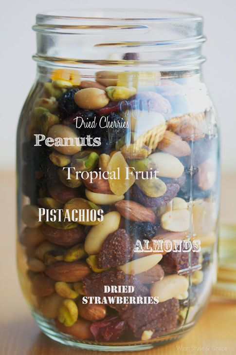DIY trail mix. Good idea to make a big batch, put it in a jar/container, and have it on hand as a fast and healthy snack.