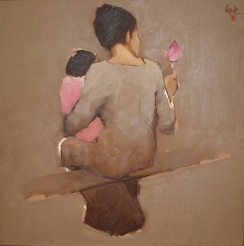 mother and child | nguyen thanh binh- notice figure and background are from the same color base