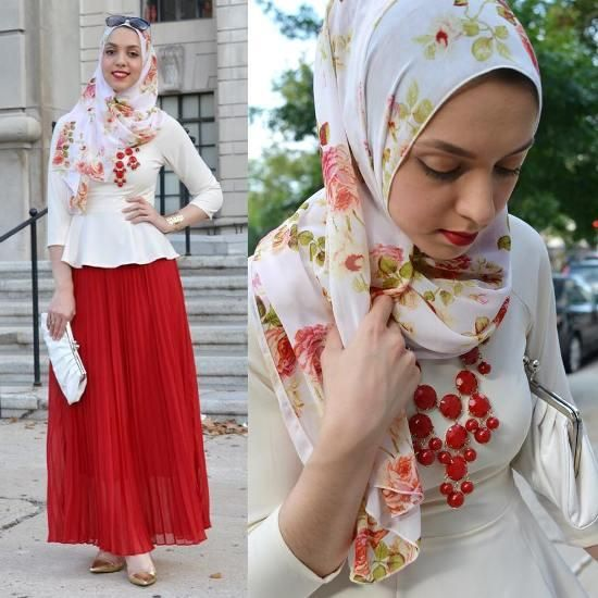red maxi skirrt with white blouse hijab, Stylish hijab looks by Hani Hulu http://www.justtrendygirls.com/stylish-hijab-looks-by-hani-hulu/