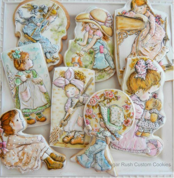Cookies based on the illustrations by Sarah Kay - Cake by Kim Coleman (Sugar Rush Custom Cookies)