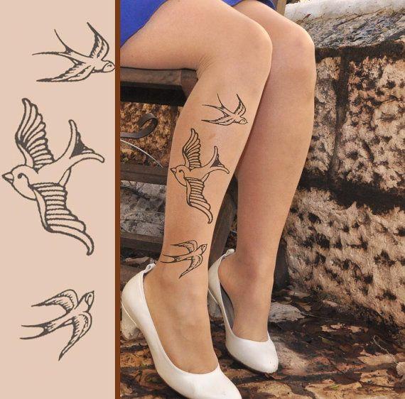 Tattoo Tights ROCKABILLY swallows - size  - S ,M,L,XL  full length - Nude