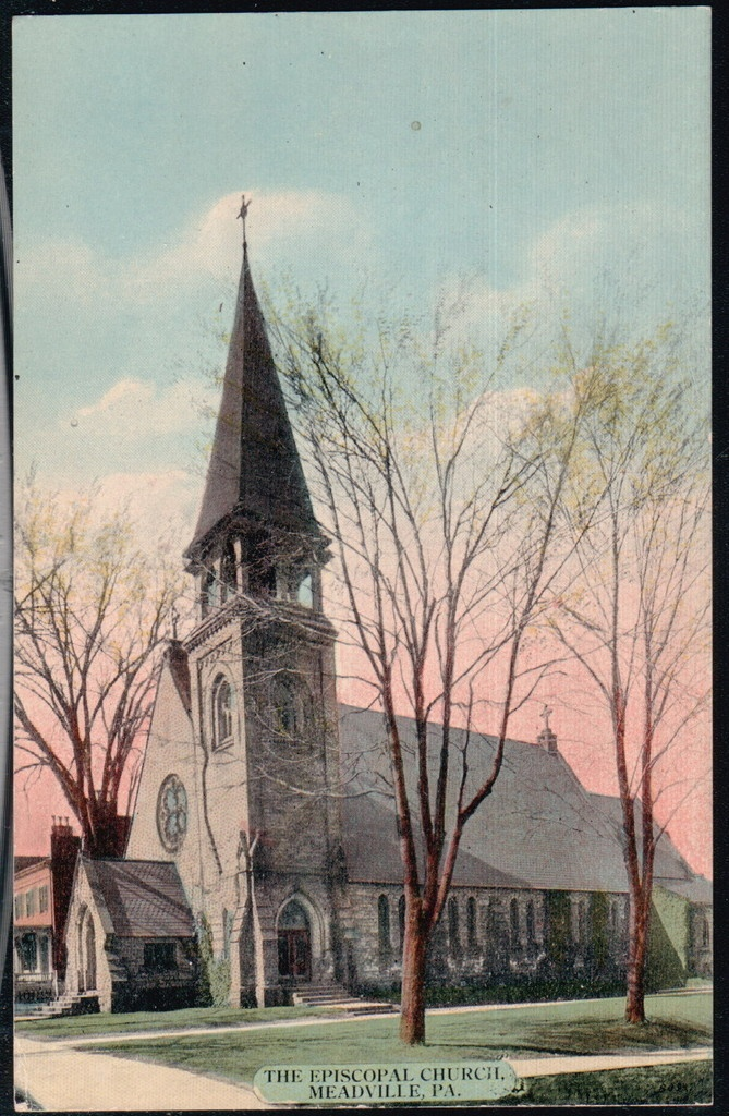 MEADVILLE PA Episcopal Church Vintage Town View Old Pennsylvania Postcard Early