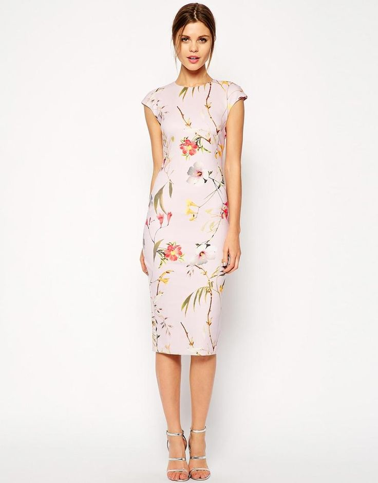 Ted Baker | Ted Baker Botanical Bloom Print Midi Dress at ASOS