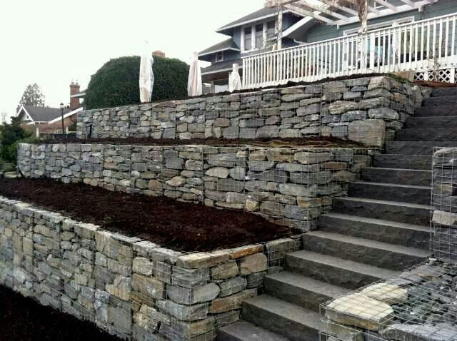 Gabion Basket Retaining Walls Outdoors Garden