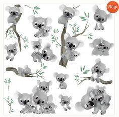 KOALA BEAR FAMILY baby joeys wall stickers 20 decal Australia animals room decor