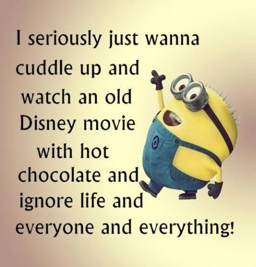 Exactly what I'm doing right now! Not a Disney movie though. Watching Annie with hot chocolate and my favorite sweats! :)