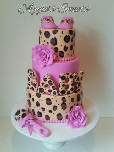 Pink and Cheetah Baby Shower Cake