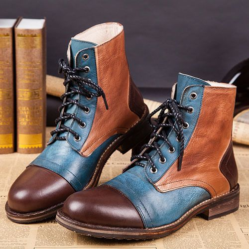 Free Shipping Men's Fashion Mixed Colors Western Ankle boots Full Grain Leather Lace-Up England Style Motorcycle boots for men #shoes, #jewelry, #women, #men, #hats, #watches, #belts